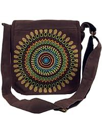 Guru-Shop Schultertasche, Hippie Tasche, Goa Tasche - Braun, Herren/Damen, Baumwolle, 25x25x7 cm, Alternative Umhängetasche, Handtasche aus Stoff