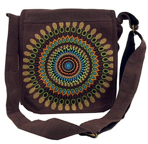 Tasche Braun Stoff Handtaschen (Guru-Shop Schultertasche, Hippie Tasche, Goa Tasche - Braun, Herren/Damen, Baumwolle, Size:One Size, 25x25x7 cm, Alternative Umhängetasche, Handtasche aus Stoff)