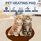 NuoYo Heizmatte Wärmematte Heizplatte Haustier Heizdecke für Hund und Katze mit 8 Temperaturstufen Kaffeebraun
