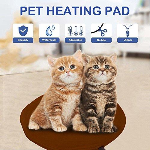 Heizmatte Wärmematte NuoYo Heizplatte Haustier Heizdecke für Hund und Katze mit 9 Temperaturstufen Kaffeebraun