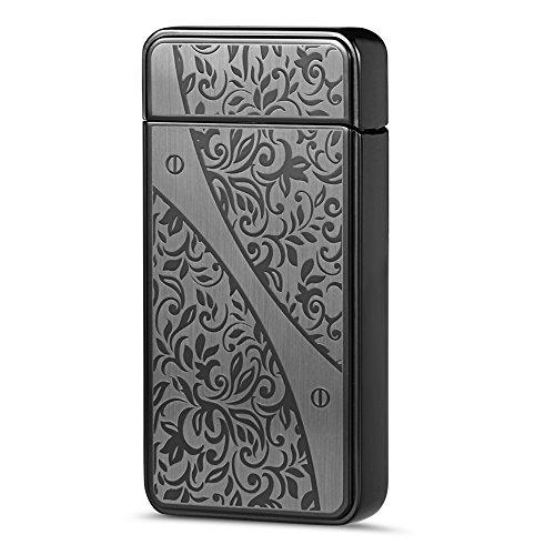 Accendino Fiori Intagliati Padgene USB Veloce Elettronico Accendino per Sigaretta Senza Gas Senza Fiamma Resistente (Novità Collezione Sole)