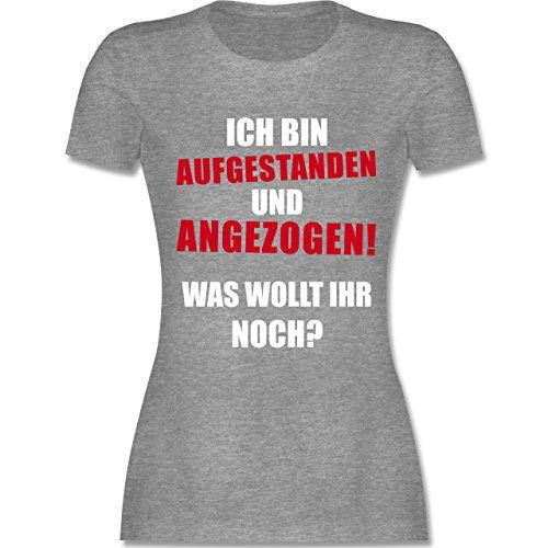Sprüche - Ich bin aufgestanden und angezogen - tailliertes Premium T-Shirt mit Rundhalsausschnitt für Damen Grau Meliert