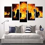LA VIE 5 Teilig Wandbild Gemälde Hochwertiger Feuerwehr Leinwand Bilder Moderne Kunstdruck als Ölbild für Zuhause Wohnzimmer Schlafzimmer Küche Hotel Büro Geschenk