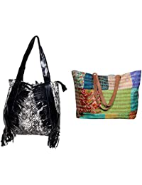 Indiweaves Combo Pack Of 1 Silk Kantha Beach Bags Bag And 1 Cotton Shopper Bag (Pack Of 2) 82100-133281-IW-P2