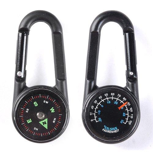 Lecktra® - 1 x Kompass mit Anhänger / Schlüsselanhänger für Frauen, Kinder und Männer mit Thermometer - Marschkompass fürs Wandern / Klettern / Trekking - Taschenkompass zum Anhängen