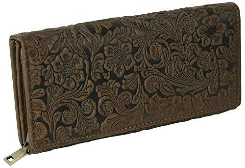Große Damen Geldbörse aus Relief-geprägtem Designer-Leder Blumenranken-Muster - viele Fächer - groß (Braun) -