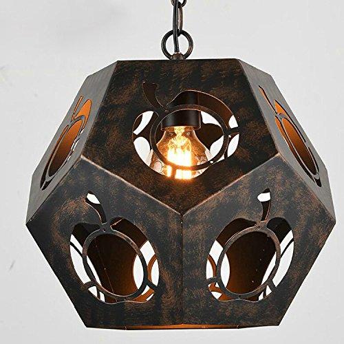 KHSKX Lampadario di ferro dell'annata rombo sfaccettato - Vintage Sfaccettato Nero Vetro