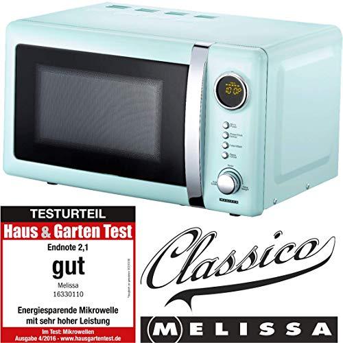 Melissa 16330110 Classico Mikrowelle Mikrowellenofen Retro-Design Metall-Gehäuse, 20 Liter Garraum, 700 Watt Mikrowellenleistung, Timer, 5 Leistungsstufen, Peppermint
