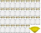 Viva Haushaltswaren - 30 x Gewürzgläser / Einmachgläser 150 ml mit goldfarbenem Verschluss, runde Twist off Gläser als Marmeladengläser, Glasdosen & Vorratsdosen verwendbar (inkl. Einfülltrichter)
