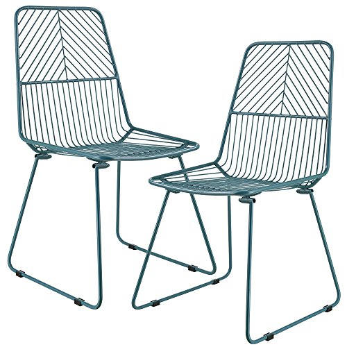 [en.casa]®] Set de 2 sillas de Metal Elegantes - Turquesa - para Interiores