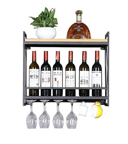 LH-Baldas flotantes Bastidores de Vino Soporte de Pared de Metal | Botelleros de Vino de Madera montado en la Pared | Titular de Vino | Soporte para Copa de Vino Colgante (Negro)