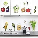 DecalMile Légumes Cuisine Stickers Muraux Drôles Maïs Chili Fruits Amovible Vinyle Stickers Muraux Pour Cuisine Salle À Manger