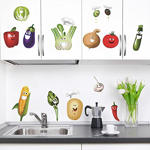 decalMile Vegetales Cocina Pegatinas Pared Desmontable Divertido Maíz Chile Fruta Vinilo Decorativos...