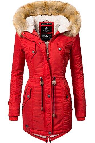 Navahoo Damen Winter Mantel Winterparka La Viva (vegan hergestellt) Rot Gr. XXL