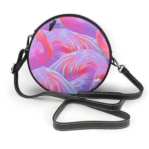 Handtasche/Clutch, Motiv: Flamingo Fever In Tropical Paradies, rund -