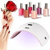 LEDGLE Lampada LED Unghie 36W Timer da 30s, 60s per LED UV,in Automatico Sensore Portatile Professionale per Manicure Strumento per Salone con Disegno Speciale Rosa