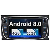 PUMPKIN Android 7.1 Car Stereo DVD Player for Ford Focus Mondeo Galaxy S-max,Fast-boot Car Radio with Sat Nav - Support GPS, DAB+ WIFI,Subwoofer,Mirro Link and AV Out