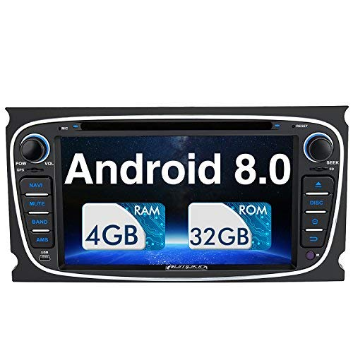 Pumpkin 32GB 2GB Android 7.1 Double Din Car Stereo for Ford Focus Mondeo Galaxy S-max Bluetooth Radio DAB GPS Sat Nav 1024*600 Head Unit Support CD DVD Player Fastboot Mirrorlink WIFI Subwoofer AV Out