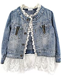 TOOGOO(R) Girls Kids Lace Cowboy Jacket Denim Top Button Costume Outfits Jean Coat 100CM