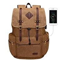 Travel Vintage Backpack for Women Men,Modoker Canvas Laptop Work Backpack Rucksack School Bag with USB Charging Port, Casual Daypack Fits 15.6 Inch Notebook (Brown)