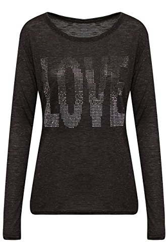 1c6159fe49e5f0 Madonna Damen Shirt Glitzer Top Bluse Strass Langarm T-Shirt Oberteil  Schwarzmel-LOVE