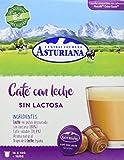 Central Lechera Asturiana Cápsulas de Café con Leche Sin Lactosa - 4 Paquetes de 16 Cápsulas - Total: 64 Cápsulas