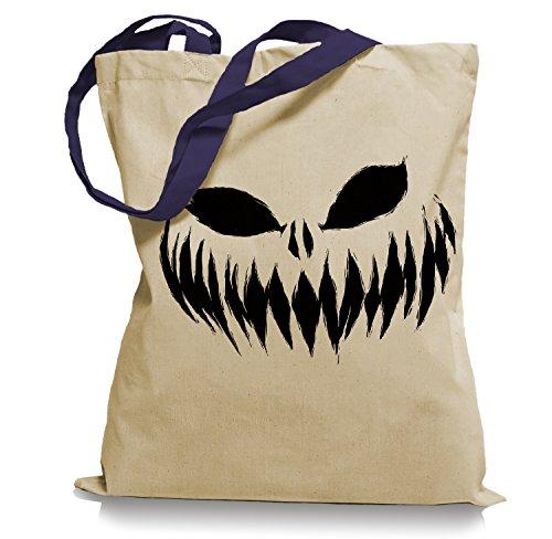 Ma2ca® Halloween Pumpkin Smiley black Tragetasche / Bag / Jutebeutel WM Farbiger Henkel-navy