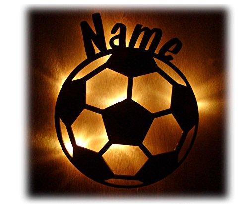 Schlummerlicht24 3d Led Fussball-Motiv Geschenke Nachtlicht Lampe Fußball mit Name für Junge und Mädchen Fußballzimmer