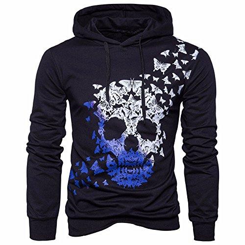 Internet-Suéter Casual con Capucha de Calavera Estampado para Hombre, de Manga Larga, Camiseta(Negro M-2XL)