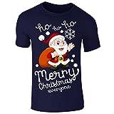 New Men's Merry Christmas Santa Ho Ho Ho T Shirt Xmas Top Tee (Medium) Navy