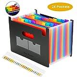 Expanding File Folder, BluePower 24 Poches Trieur A4 Accordéon Organiseur de Dossiers de Fichiers, Multicolore Portable Plastique de Bureau Classeur Documents Support Extensible avec