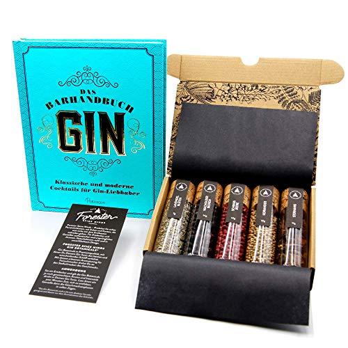 Gin Gewürze + Gin Buch Geschenkset I 5 erlesene Gin Botanicals im & Gin Tonic Guide (Hardcover) im Gin Set I Gin Rezepte, Gin Herstellung, Gin Geschichte als Gin Geschenk
