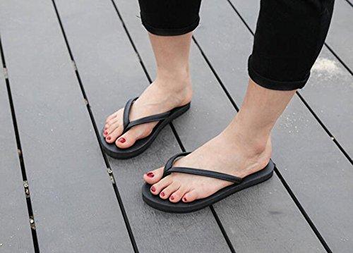 Sentao Unisexe Mode Tongs Confort Flip Flop Poids léger Plage Chaussures Sandales Noir