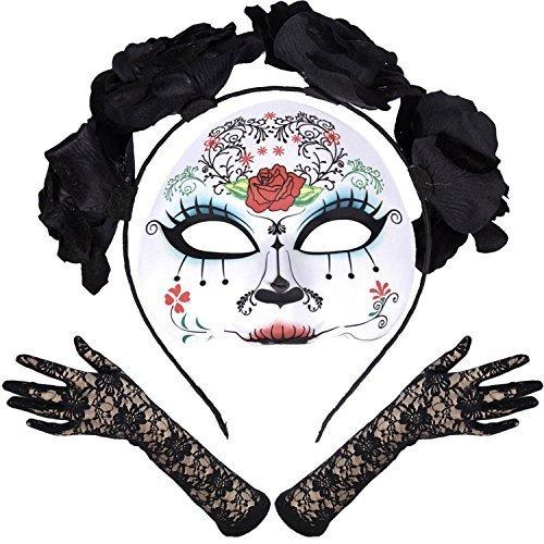 Robelli Damen Mexikanisch Zuckerschädel Tag der Toten Halloween Kostüm - Maria Spitze - Schwarz Handschuhe