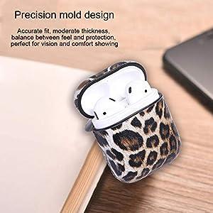 Dreameryoly Gehäuseabdeckung Für Airpods Kopfhörer-Tasche Drahtlose Bluetooth-Leder-Kopfhörer-Schutzhülle Mit Haken Leopardenleder-Ganzkörper-Schutzhülle