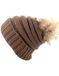6877505add81 Heekpek® Femme Beanie Chapeau Hat Grande Pom Pom Bonnet d hiver Chaud  Doublure Polaire