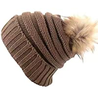 7ca1555168c heekpek Women Winter Beanie Hat Warm Fleece Lining with Cute Pom Pom Skull  Hat Ski Cap