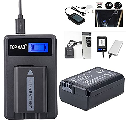 TOP-MX® NP-FW50 Battery + USB Charger (LED Screen) for Sony