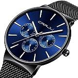 Moda minimalista orologio da uomo casual impermeabile Business vestito orologio da polso in acciaio ultra sottile data 12/24HOUR braccialetto (nero & blu)