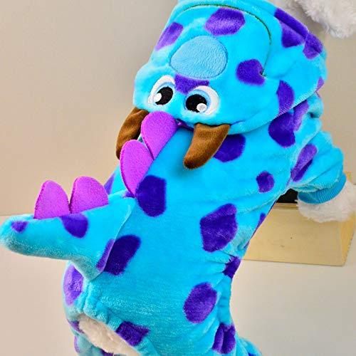 Kostüm Niedlichen Drachen - ELYQGGG Niedlichen Cartoon Haustier Katze Hund Kleidung Winter Drache Kleiner Hund Teddy Mantel Kleidung Outfit lustige Haustier Kleidung Kostüm Blue XXS