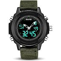 WENY Deportes electrónicos para Hombre Reloj Digital, Nylon/Ball Band, LED Diseño de Moda Durable simulación Ocio Militar Grande Reloj Impermeable (Color : Armygreen)