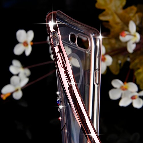 SainCat Coque Housse pour Apple iPhone 7 Plus,Transparent Coque Silicone Etui Housse,iPhone 7 Plus Silicone Case Soft Gel Cover Anti-Scratch Transparent Case TPU Cover,Fonction Support Protection Comp Rose Gold-Love