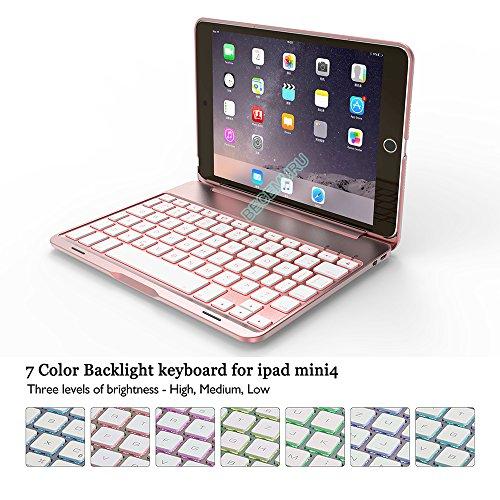 iPad Mini 4 Tastatur Fall becemuru 7-color Hintergrundbeleuchtung Drahtloser Bluetooth Tastatur muti-angle Ständer Aluminium Legierung Folio Schutzhülle Klapp Schutzhülle für 20,1 cm iPad mini 4