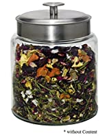 Boîte à thé en verre 800 g avec couvercle en aluminium brossé