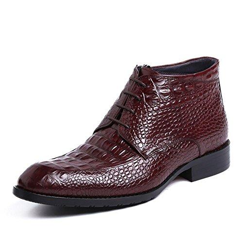 Herren Herbst und Winter England aus echtem Leder Krokodil Muster Pack Wingtip Business Kleid Stiefel , wine red , 43