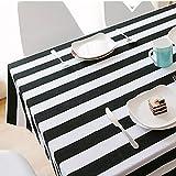 HUANZI Tischdecke schwarz und weiß Streifen einfache Moderne Tischdecke rechteckigen Dicke verschleißfeste Tischdecken, 140 * 250