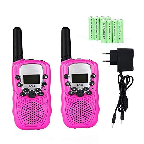 Lomoo Walkie Talkie Niños PMR446 8 Canales LCD Pantalla Función VOX 10 Tonos de Llamada Bloqueo de Canal Linterna Incorporado con 8 Piezas Batería Recargable y Cargador (Rosa)