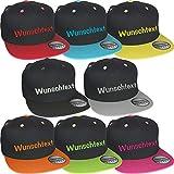 Snapback Cap bestickt mit Wunschtext Name Stickerei Wunschstickerei Mütze Basecap (Black / Black)