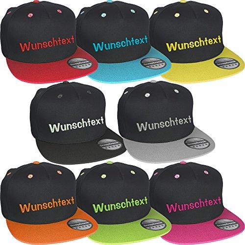 Snapback Cap bestickt mit Wunschtext Name Stickerei Basecap (Black / Surf Blue)