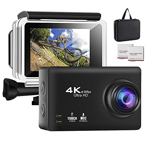 Modohe 4K Action Camera, Hisilicon DSP, 16MP WIFI Waterproof Camera 2.35 inch Touch Screen Sports Camera 170° Wide-Angle Lens Action Cam, With 2 Rechargeable Batteries